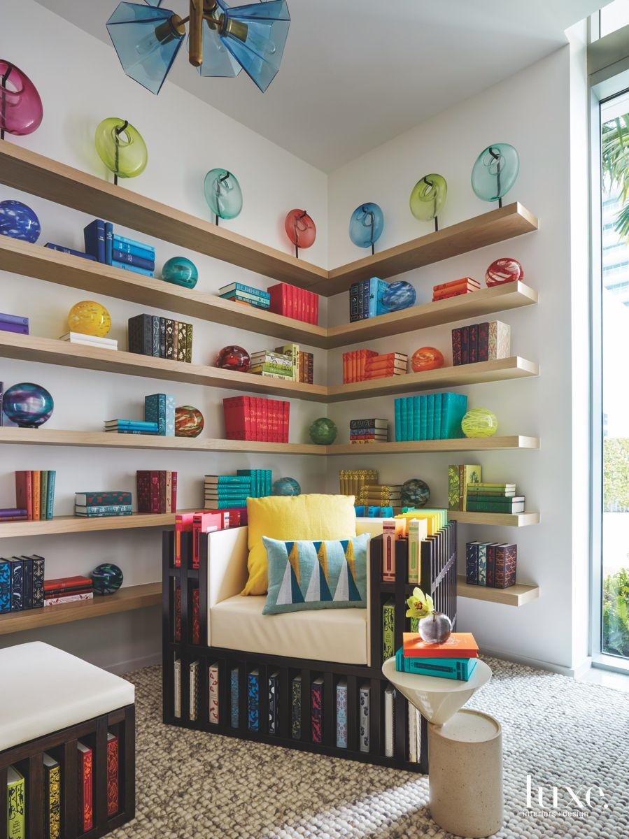 Book Chair Library with Pops of Color