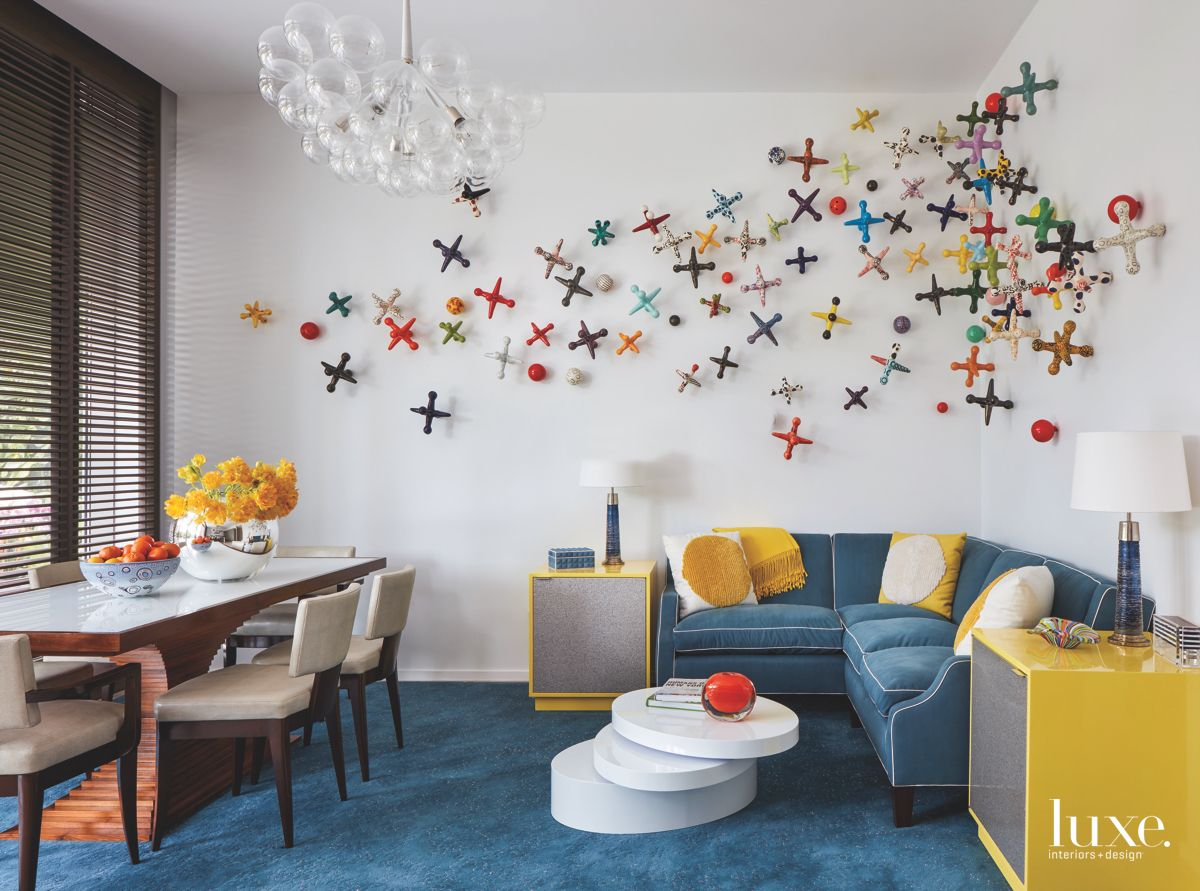 Colorful Art Installation Breakfast Room with Bubble Chandelier