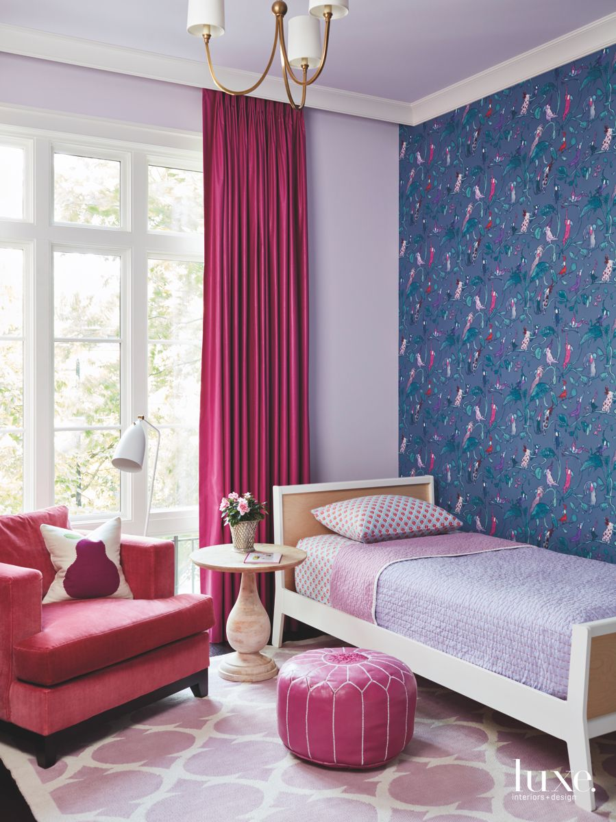 Pink and Purple Child's Bedroom with Bird Wallpaper