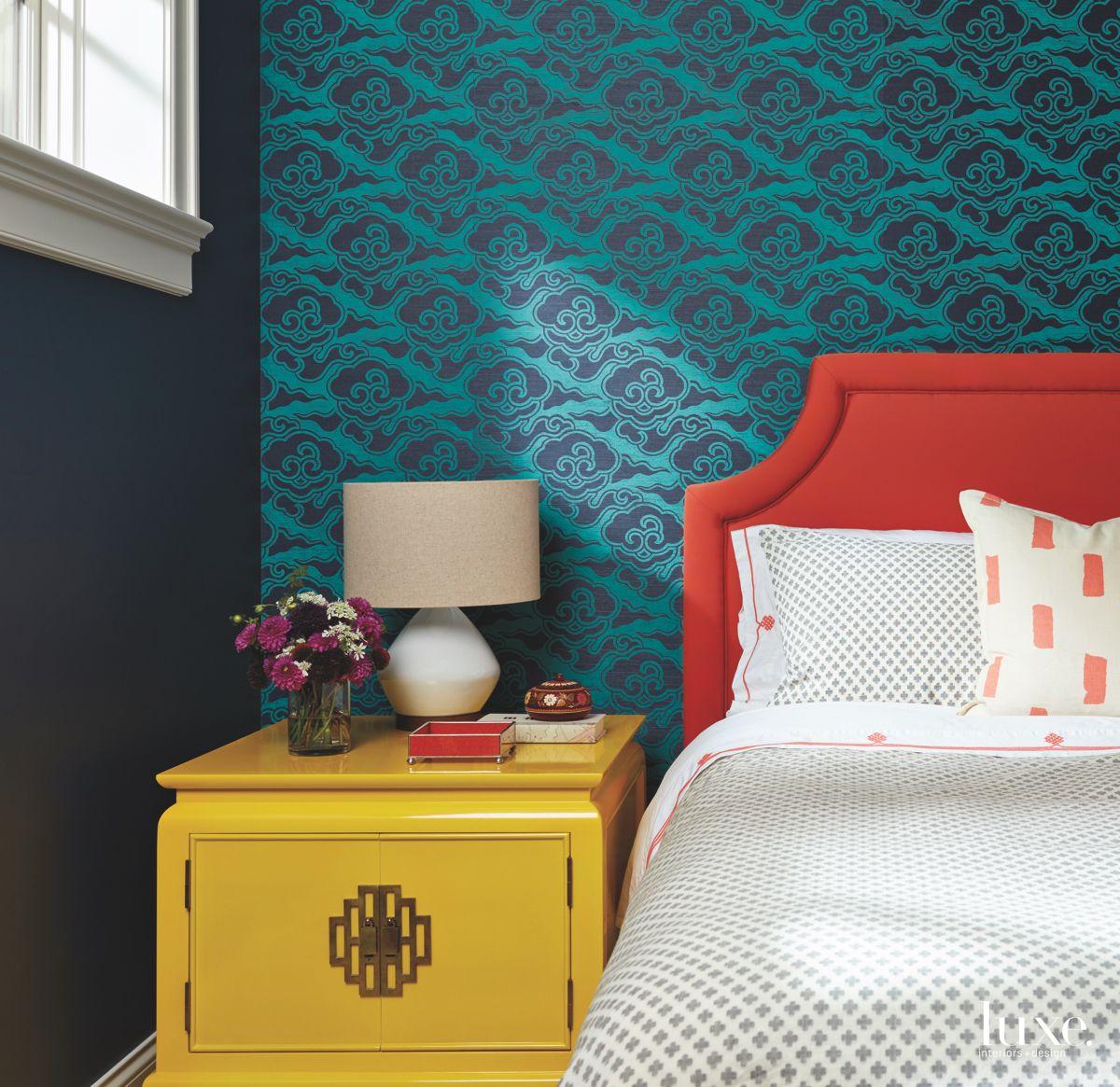 Master Bedroom Jewel Tone Wallpaper Bed and Dresser