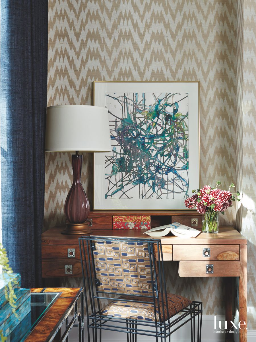 Gold and White Chevron Wallpaper Desk with Abstract Artwork and Mid Century Modern Furnishings
