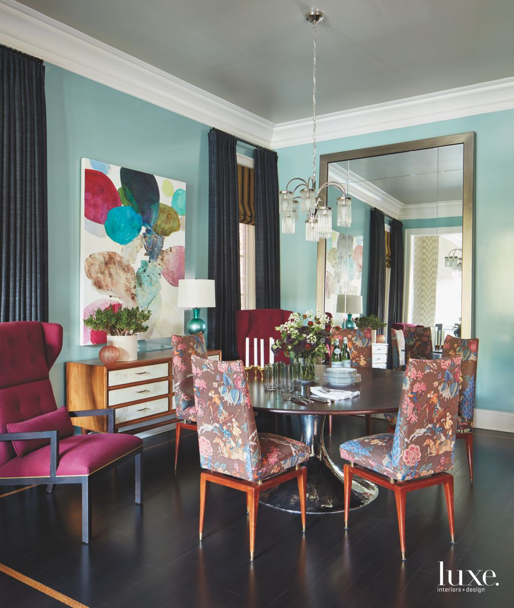 Colorful Formal Dining Room with Blue and Fuschia and Large Mirror