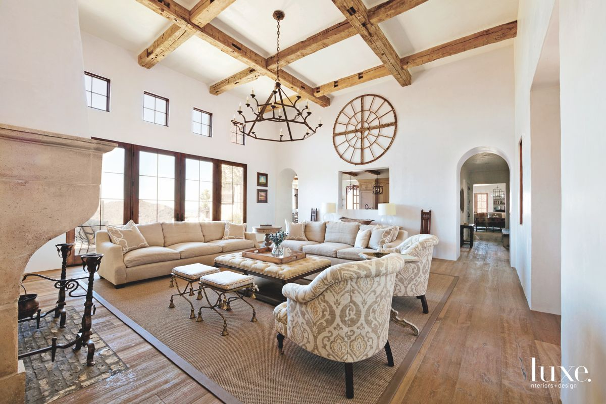 Monochromatic Living Room with Coffered Ceiling and Various Fabric Patterns