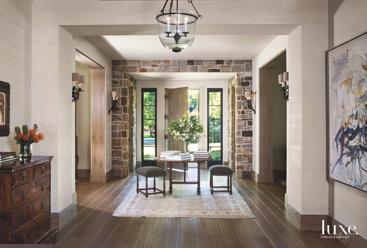 Stone Entrance with Coffee Table and Stools and Pendant