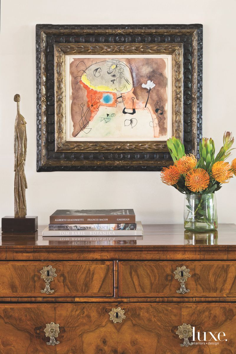 Picasso Sculpture Antique Chest and Painting Entrance