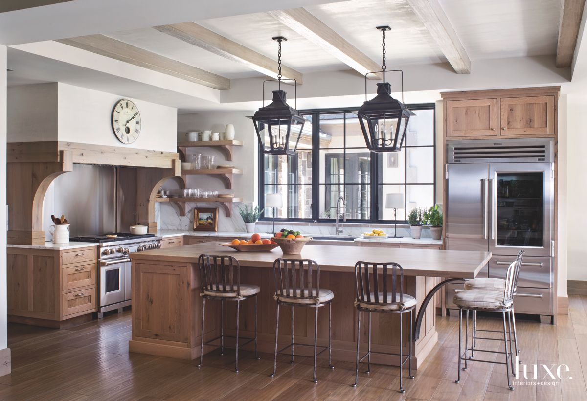 Lantern Pendants Wooden Kitchen with Sit-In Island