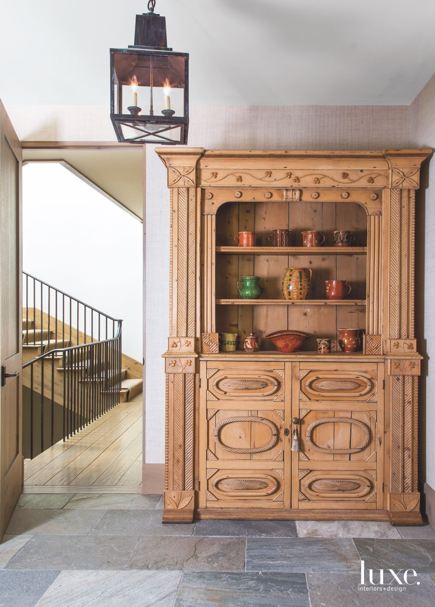 Antique Wooden Hutch with Ceramics Inside