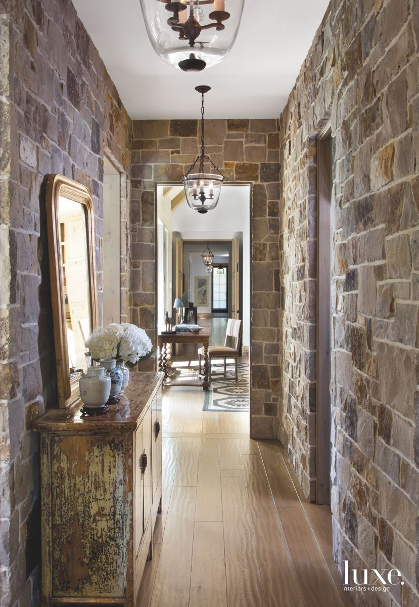 Stone Hallway with Mirror and Chest and Pendant