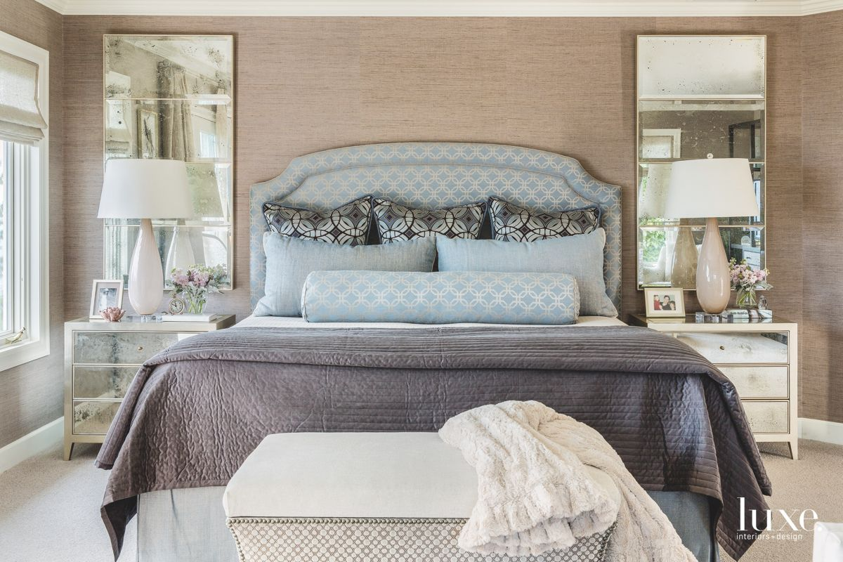 Blue Upholstered Headboard Master Bedroom with Neutral Elements