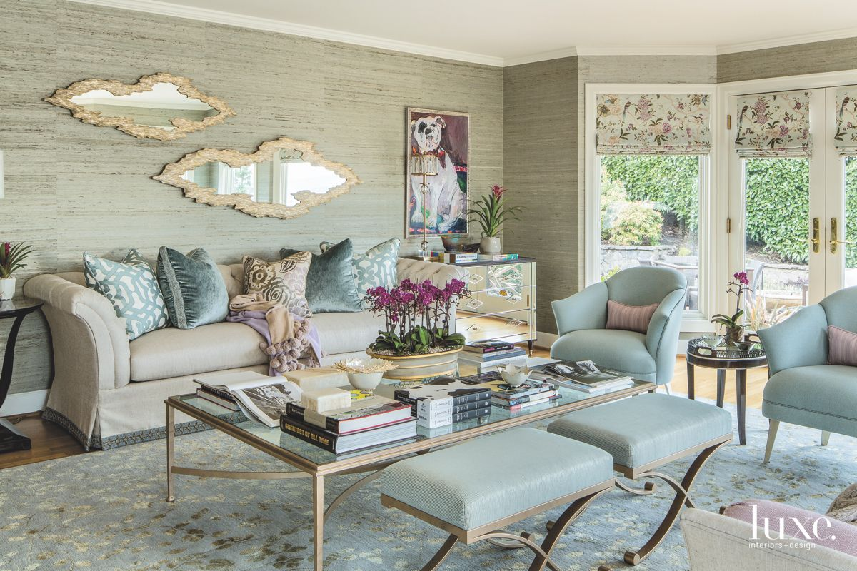 Green Blue and Neutral Living Room with Natural Organic Mirrors, Art and Sofa