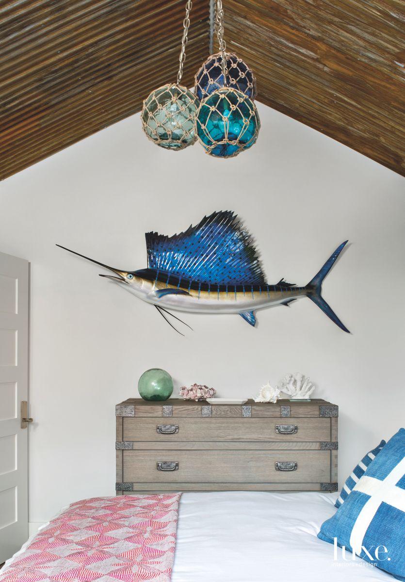 Marlin Fish Wall Art with Three Ball Pendant in Netting