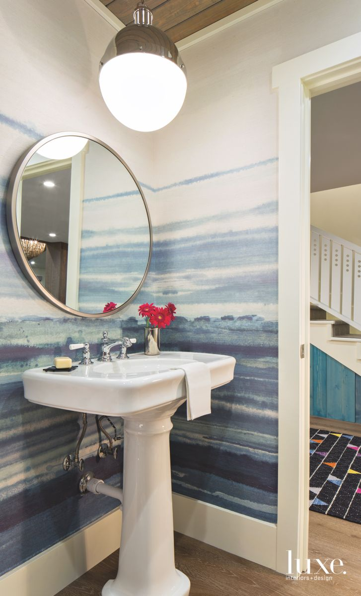 Water Wallpaper Powder Room with Orb Pendant Mirror and Red Flower