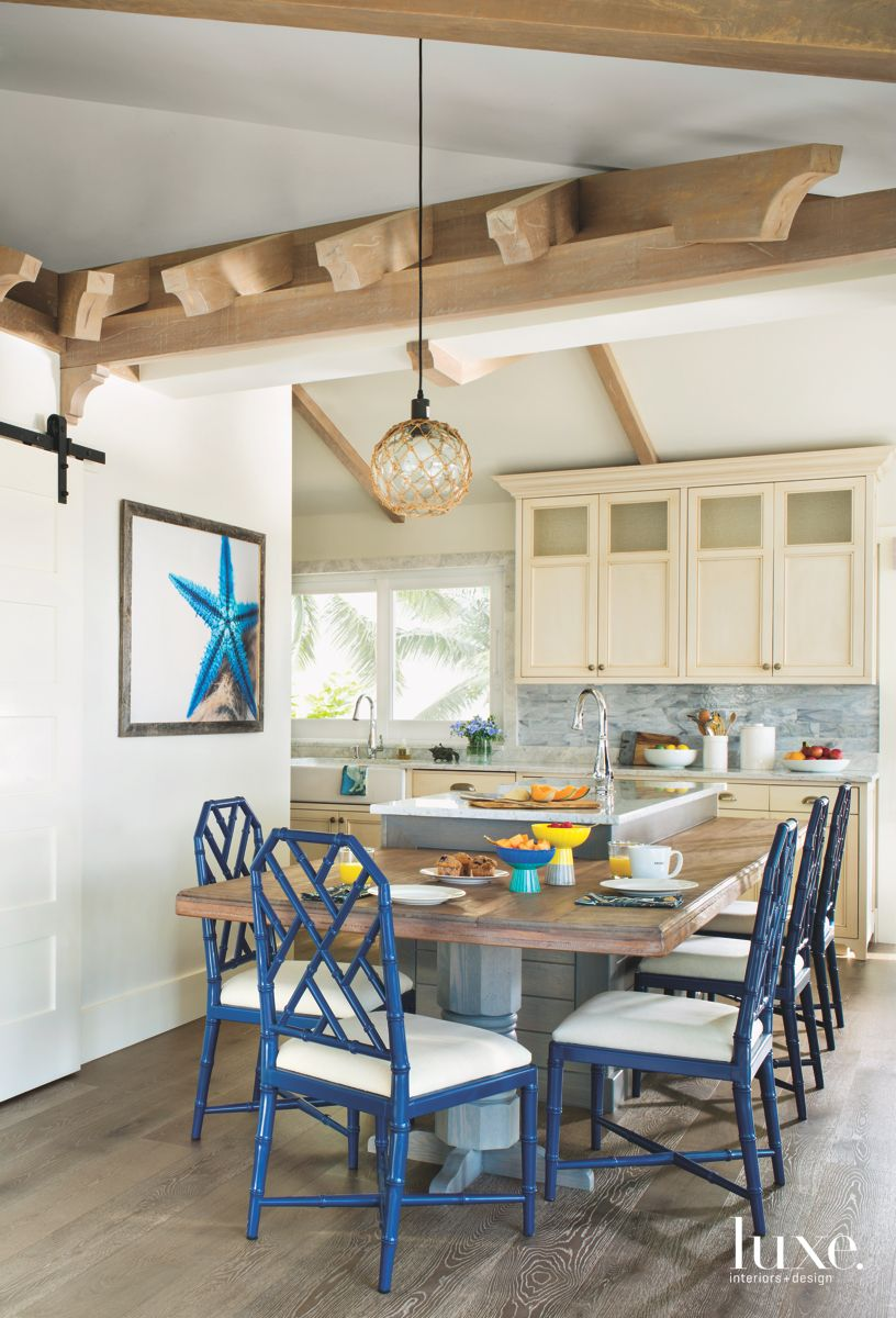 Blue Bamboo Chair Kitchen Corner Table with Starfish and Neutral Cabinets