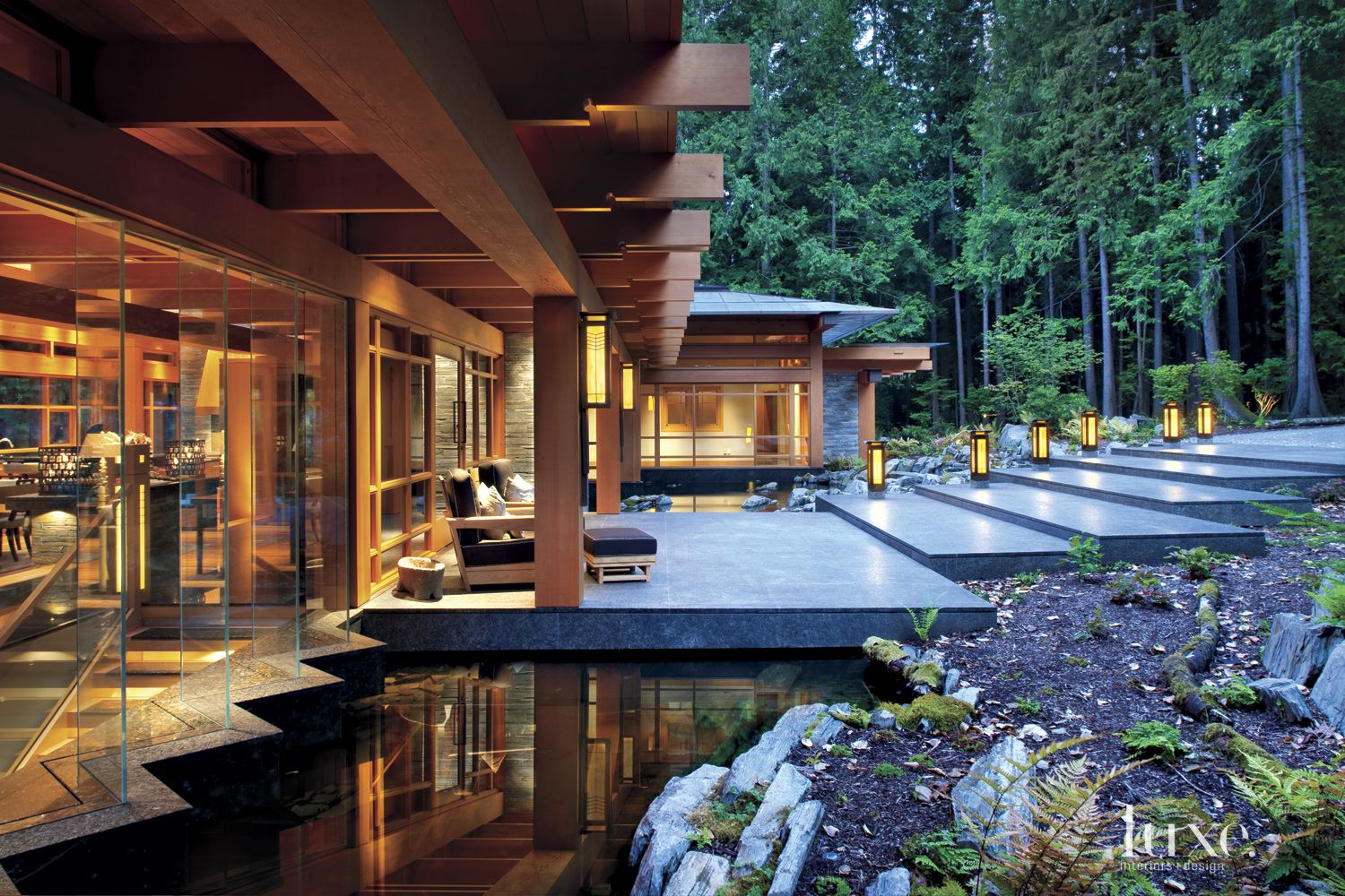 Contemporary Neutral Exterior with Geometric Lanterns