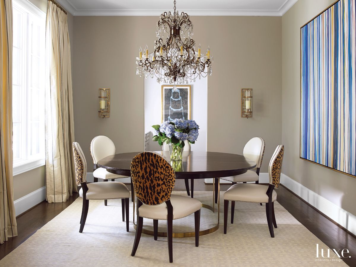 Transitional Neutral Dining Room with Antique French Chandelier