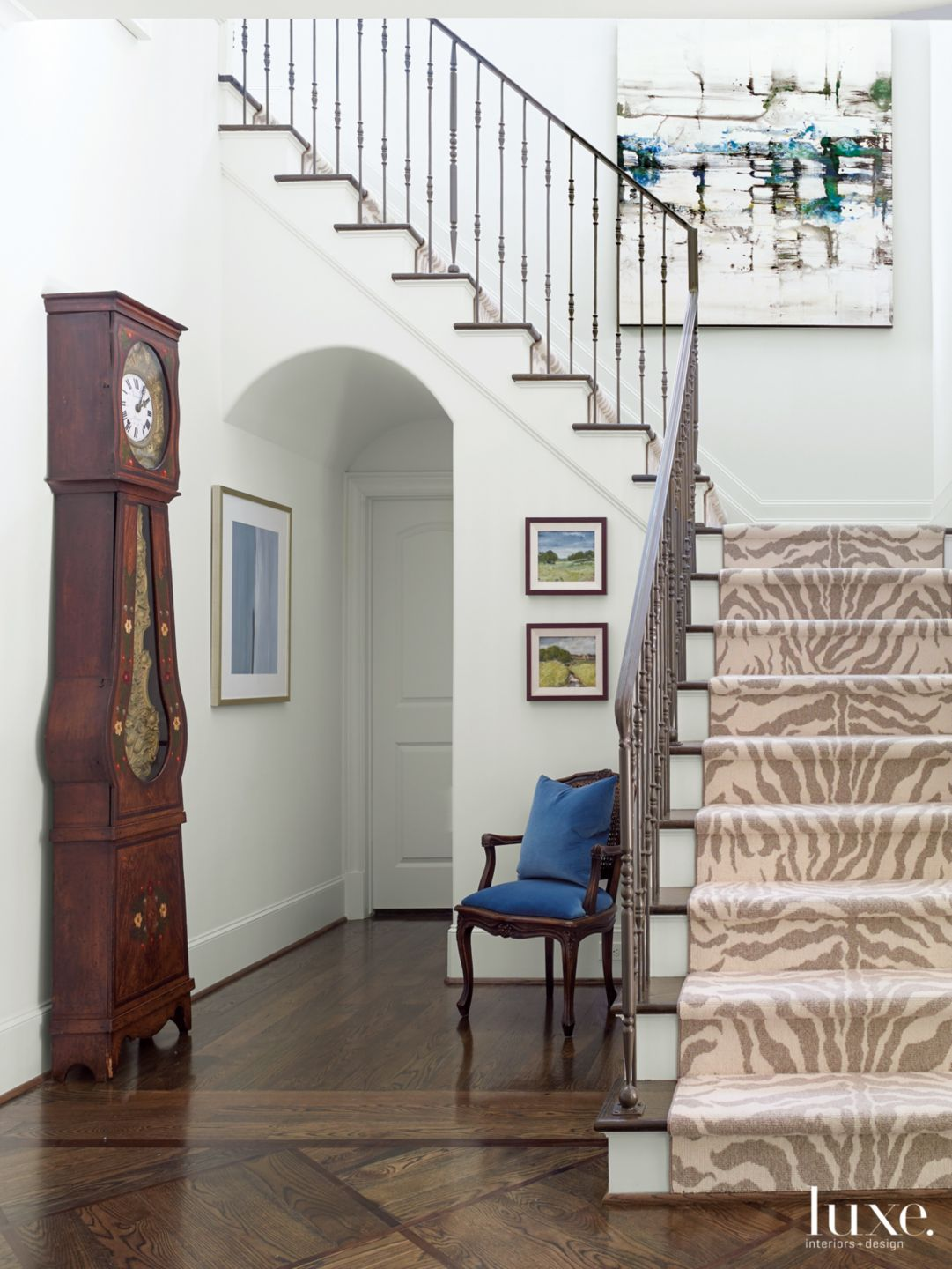 Transitional White Entry with Grandfather Clock