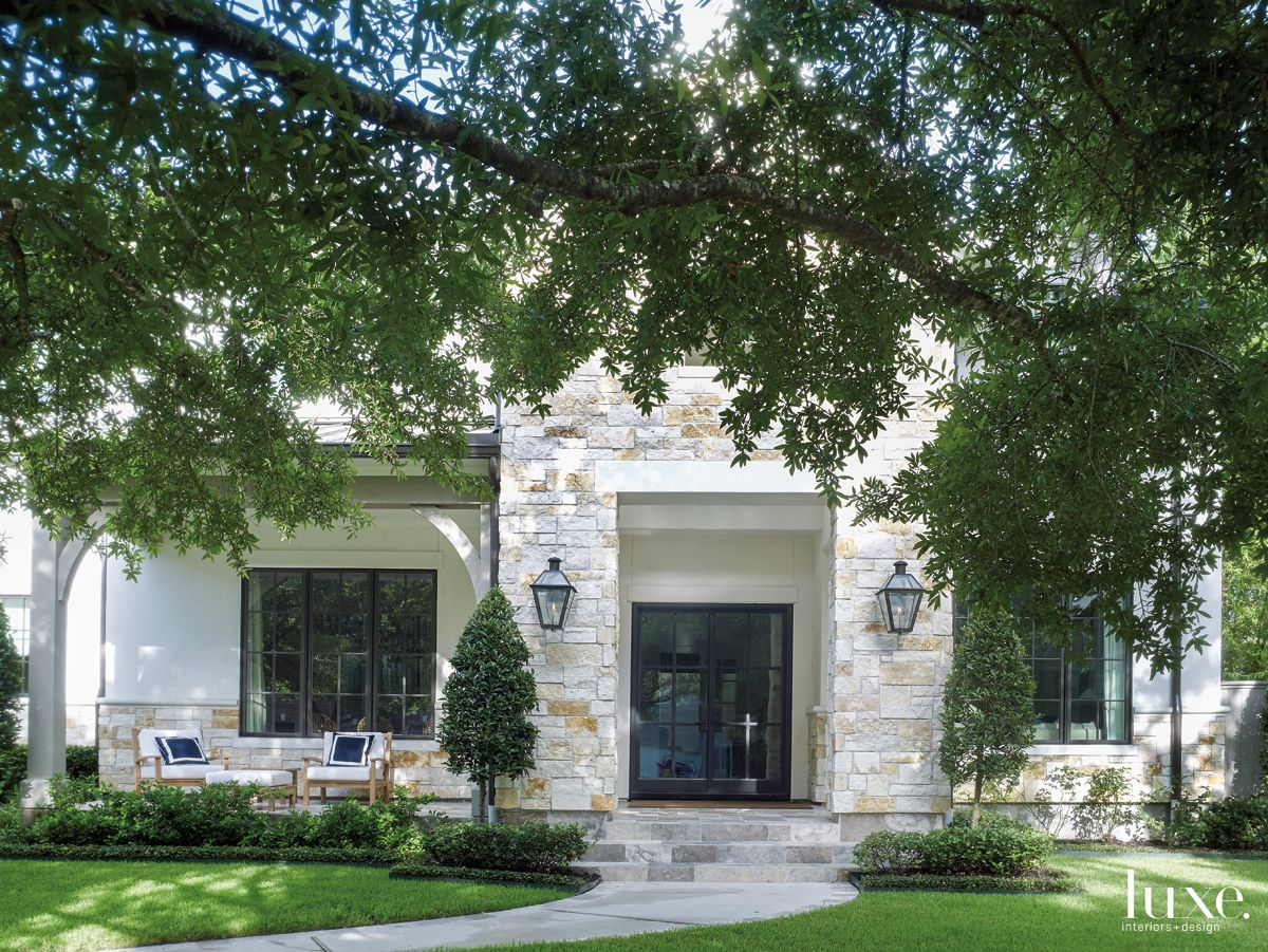 Transitional Neutral Exterior with Natural Stone Facade