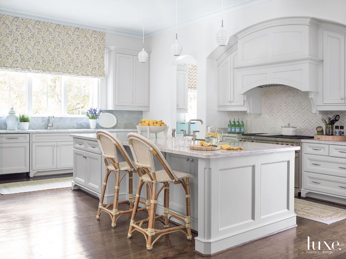 Transitional White Kitchen with Bistro-Style Stools