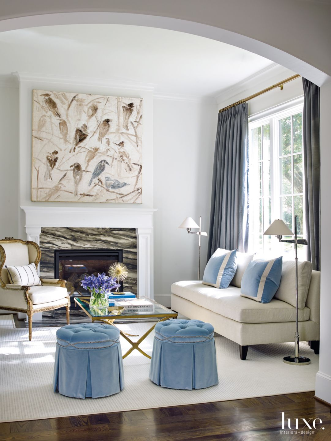 Transitional White Living Room with Canvas Bird Painting