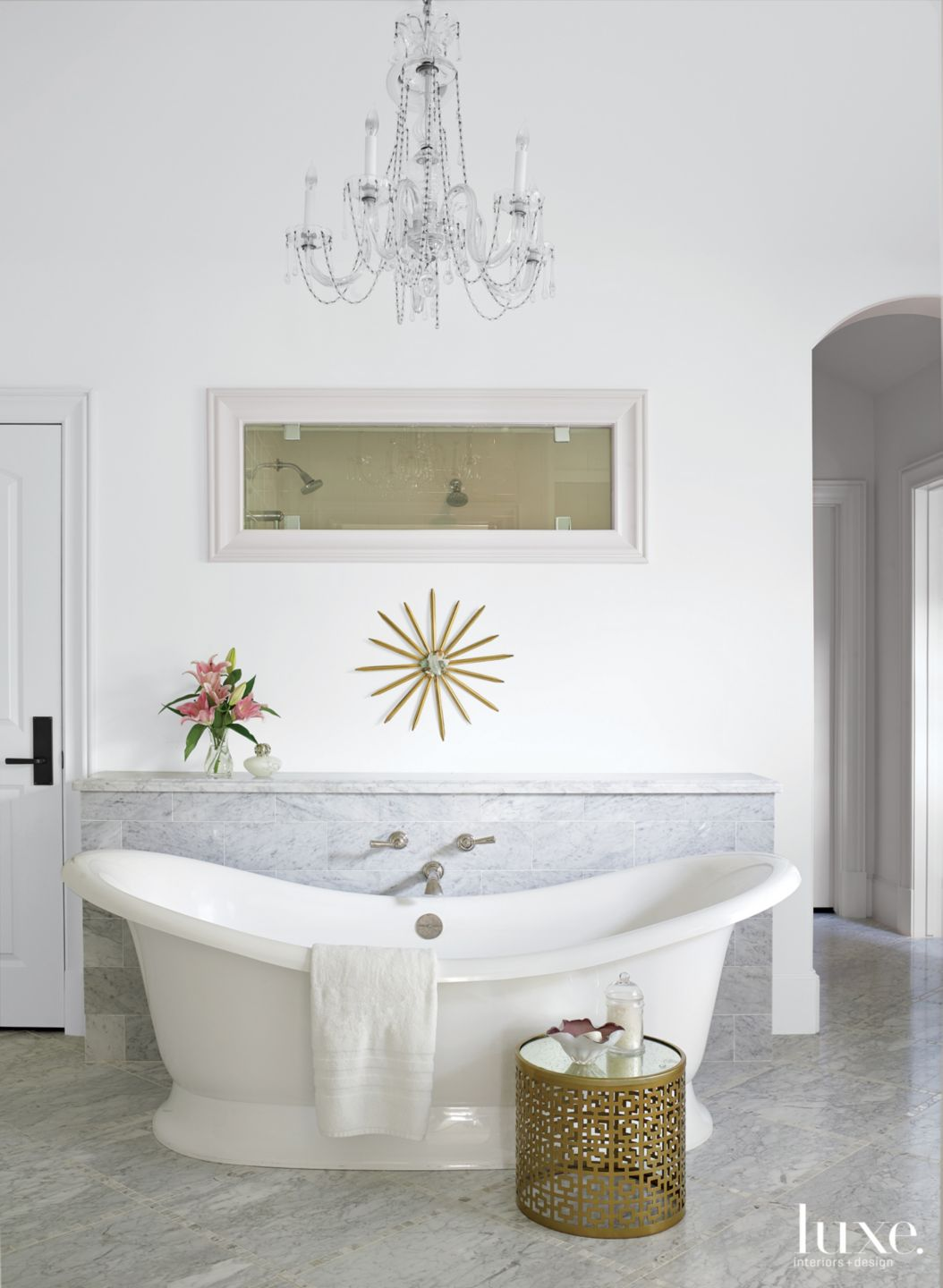 Transitional White Bathroom with Gold Side Table