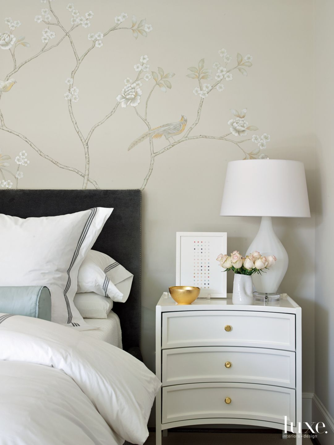 Transitional Neutral Bedroom Detail with Curved Nightstand