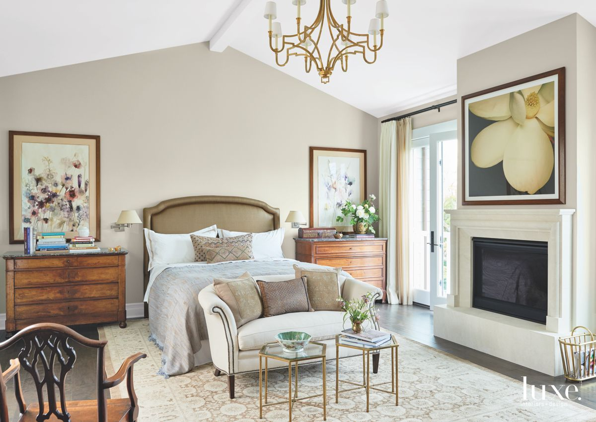 Chandelier Above the Neutral Master Bedroom