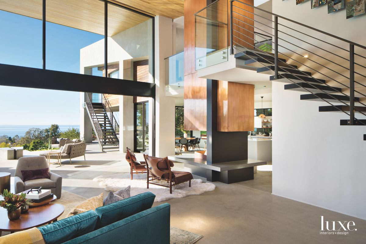 Glass Railing and Large Window Great Room with Exterior Views