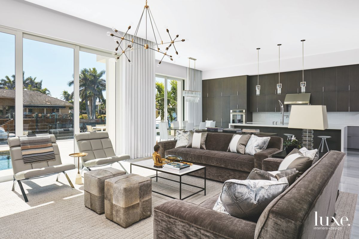Contemporary Living Room with Multiple Shades of Gray and Fabrics