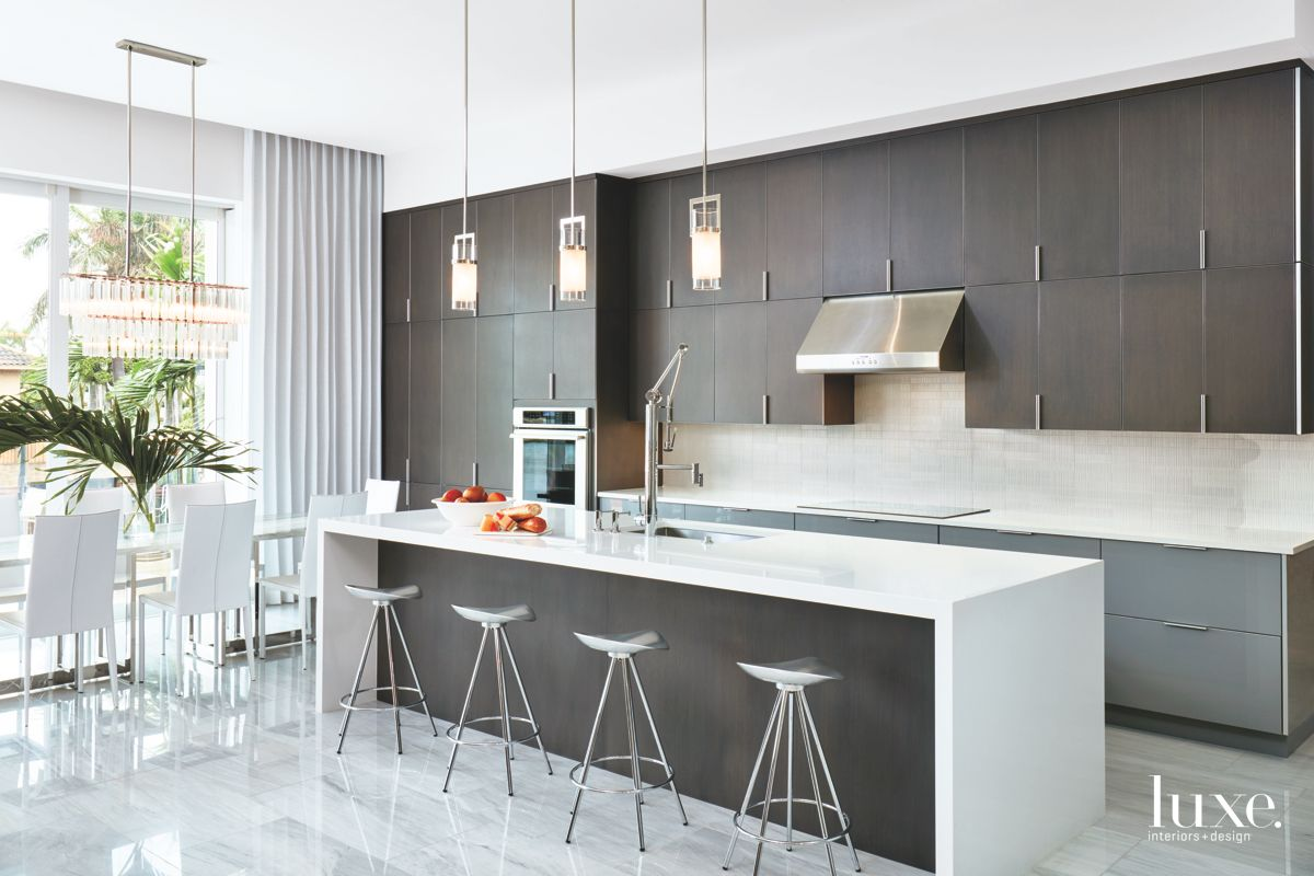 Sharp Contrasting Contemporary Gray and White Kitchen