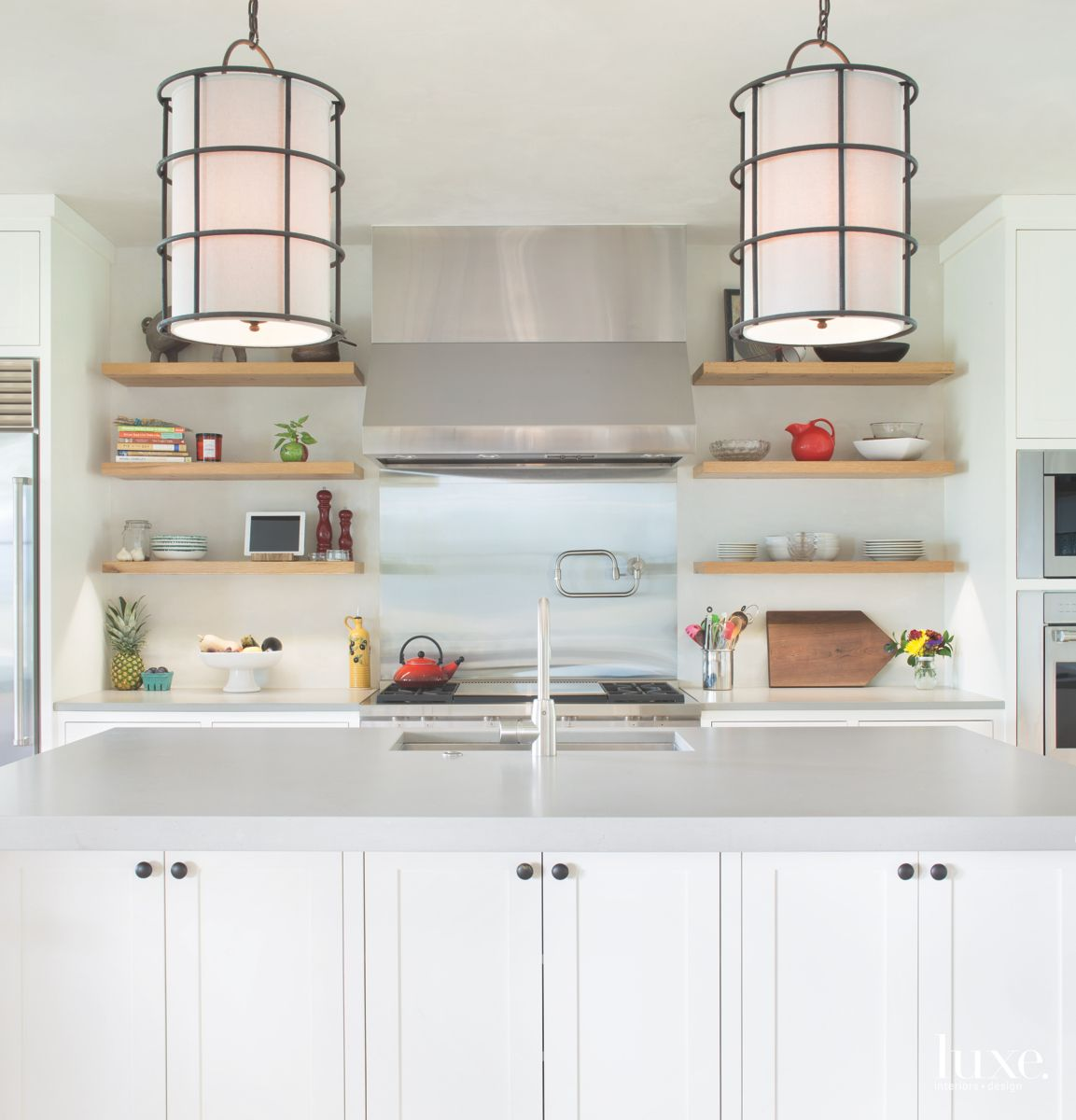 Lantern Lighting Kitchen Kitchen with Wooden Shelving and Cabinet Island
