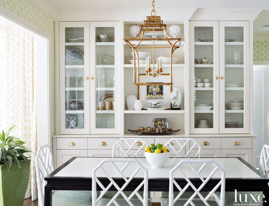 Eclectic White Breakfast Room with Faux Bamboo Chairs