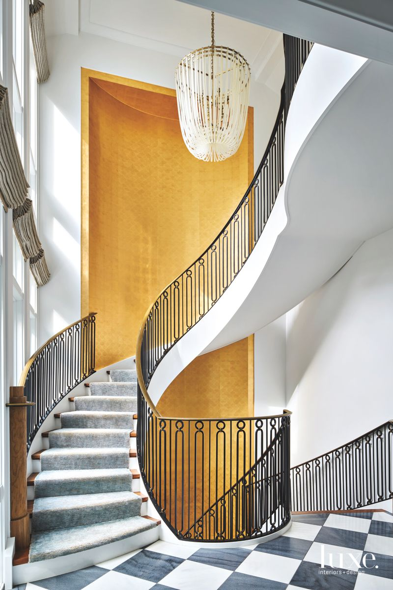 Grand Gold Entrance Spiral Staircase