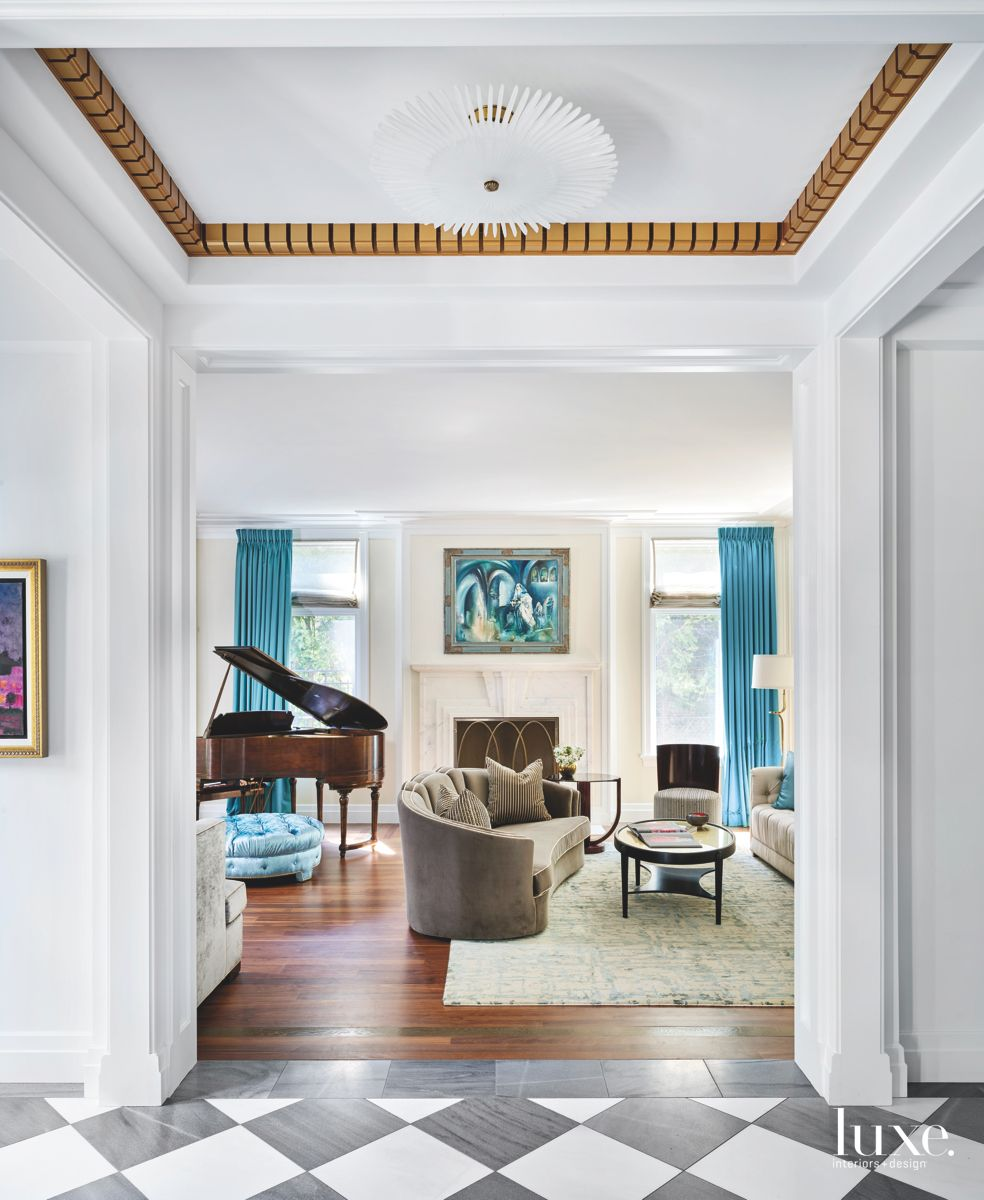 Blue Curtain Living Room with Modern Crown Moulding and Artwork
