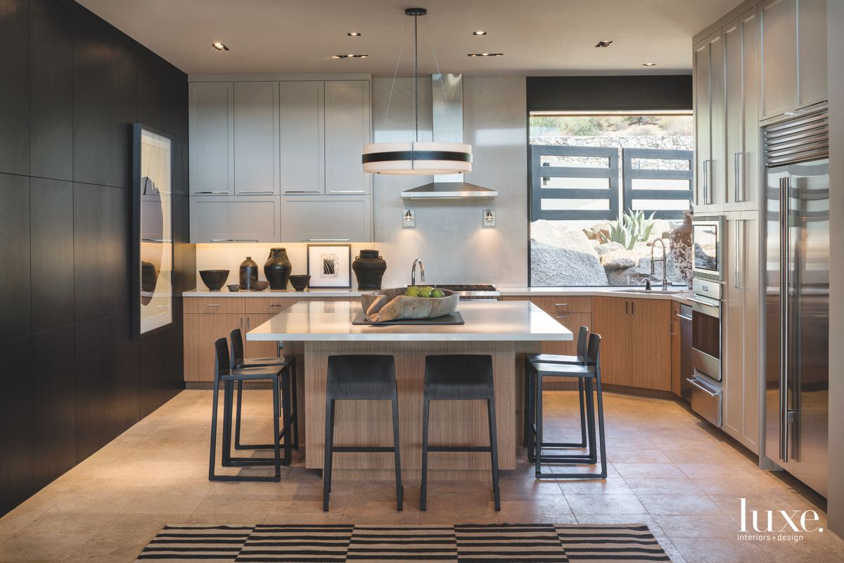 Sleek Silver and Black Contemporary Kitchen with Striped Rug and Island