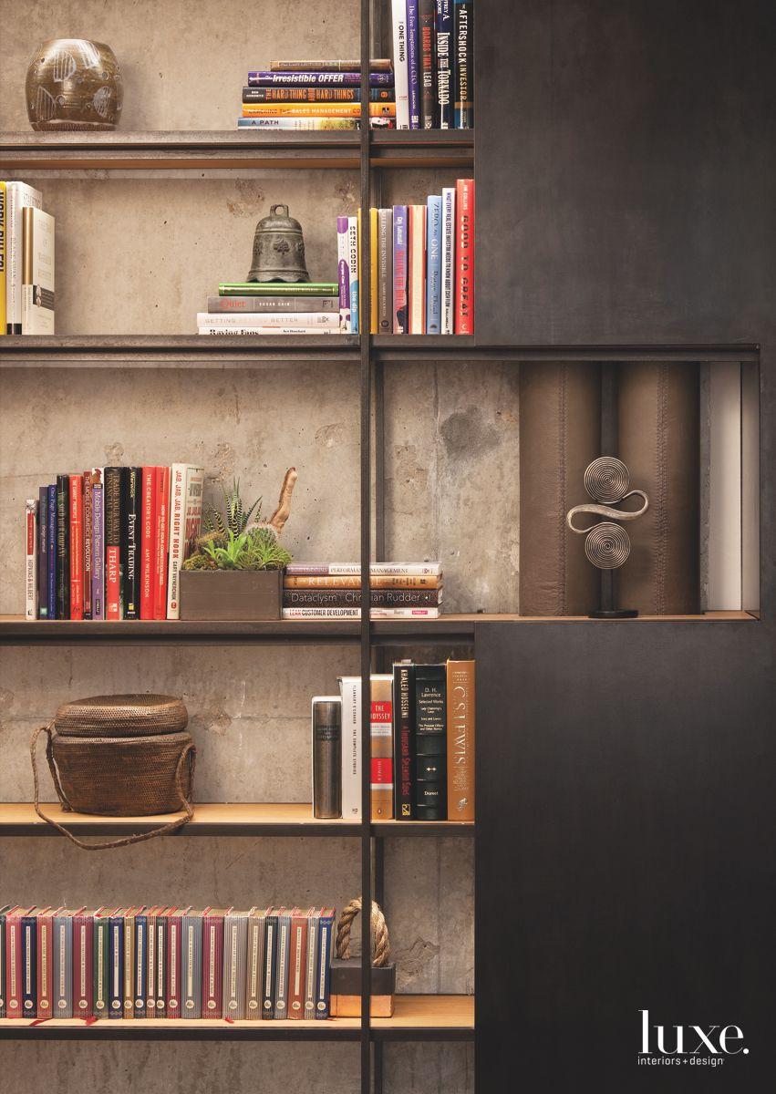 Enhanced Bookshelf with Concrete Background