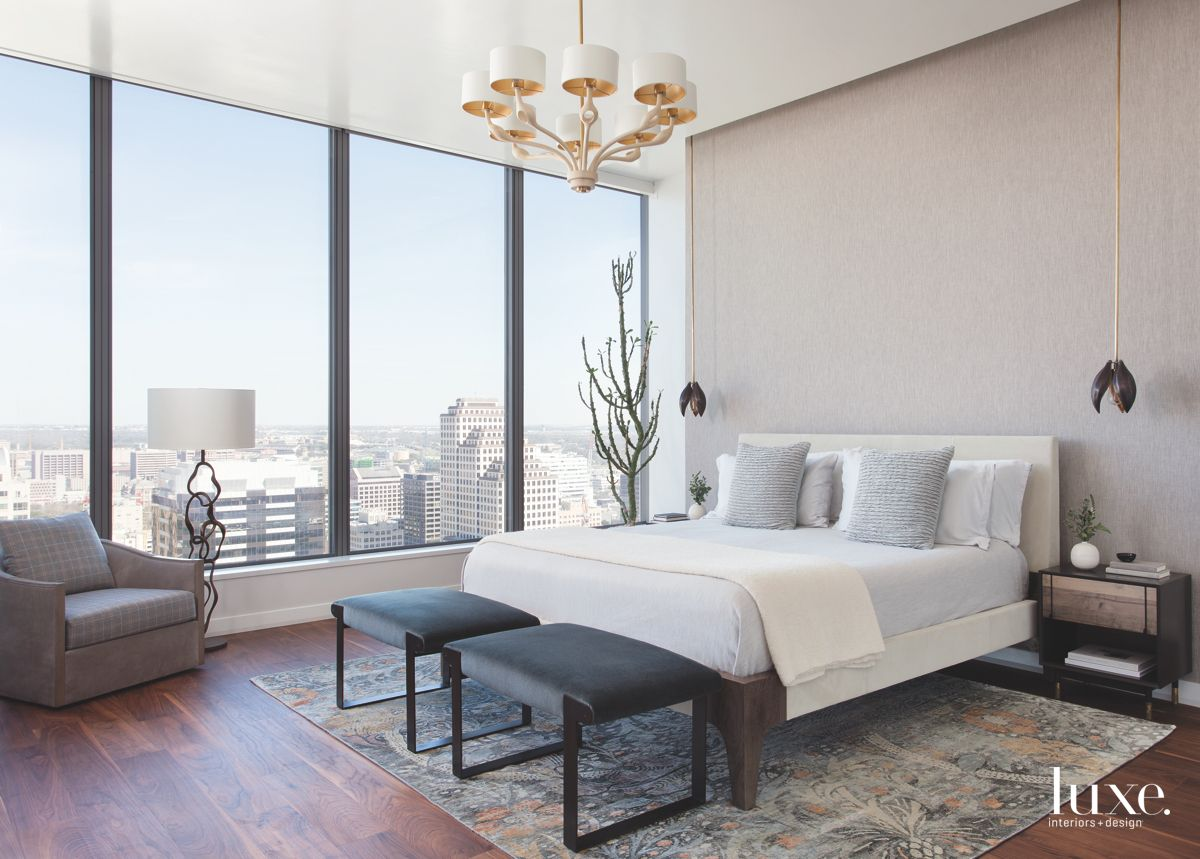Large Window Gray Master Bedroom with Traditional Chandelier Lamp and View