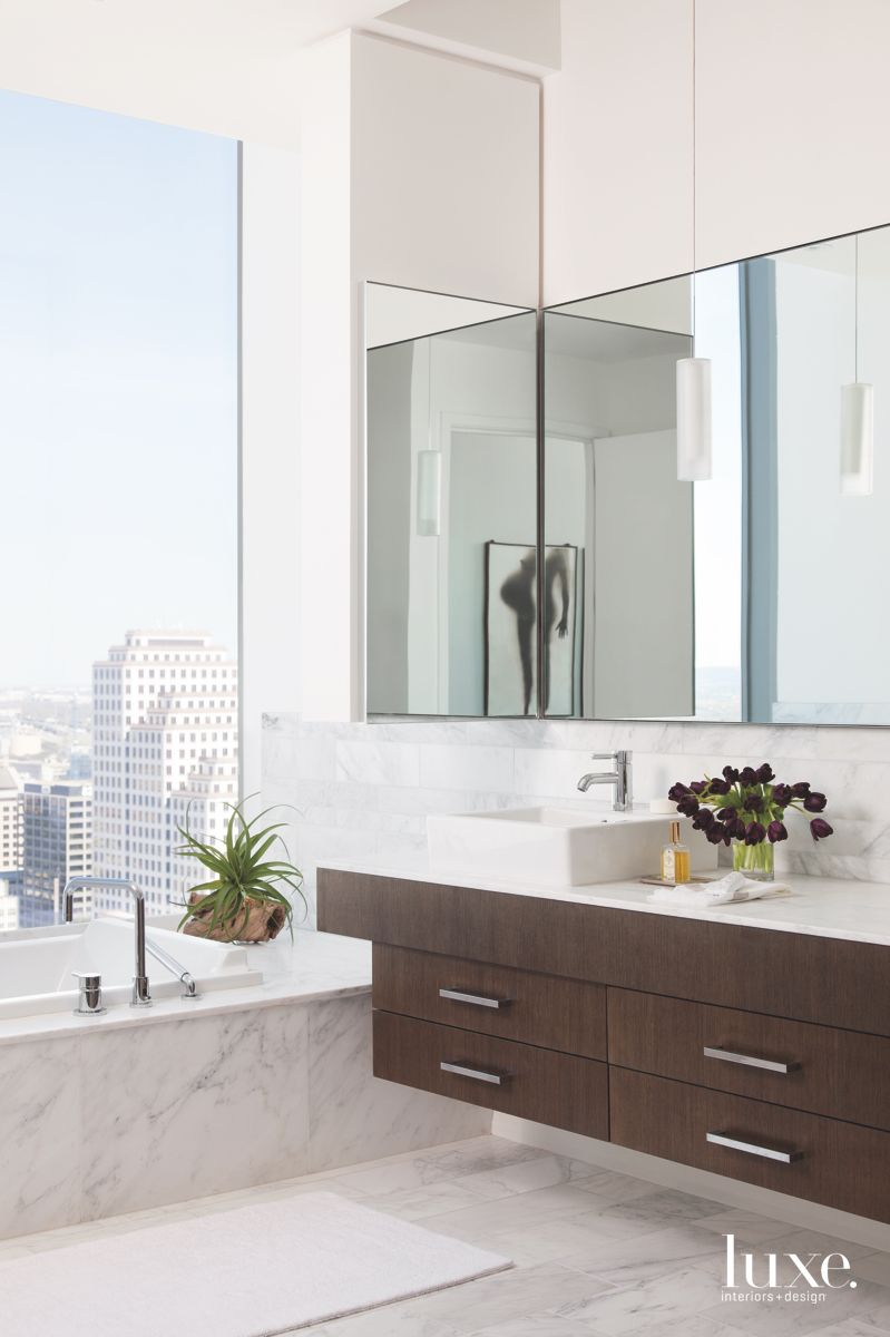 Austin White Master Bathroom with Large Mirrors