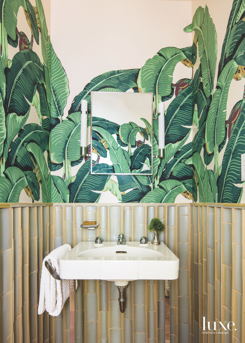 Famous Banana Leaf Powder Room with Bamboo Style Wainscot Walls and Mirror