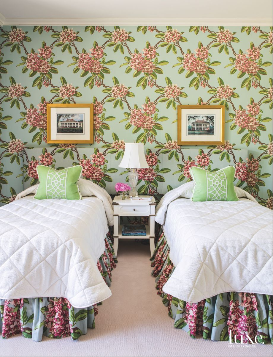 Blue Green Flower Wallpaper Bedroom with Eclectic Fabric and White Comforters