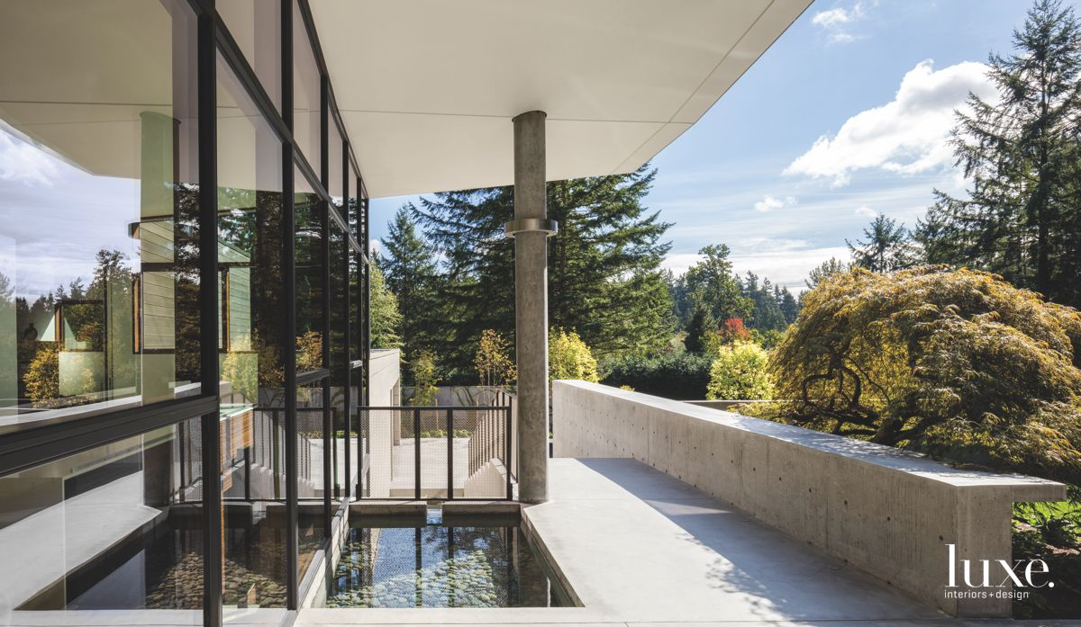 Public Wing Steel Glass and Concrete Home with Mini Pool and Landscape