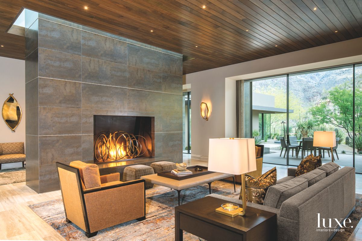 Desert-Colored Contemporary Living Room with Fireplace