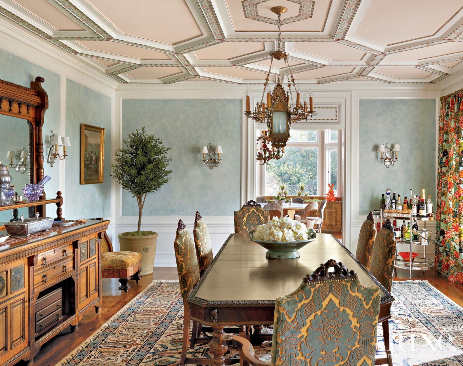 Aqua and Gold Mediterranean Dining Room