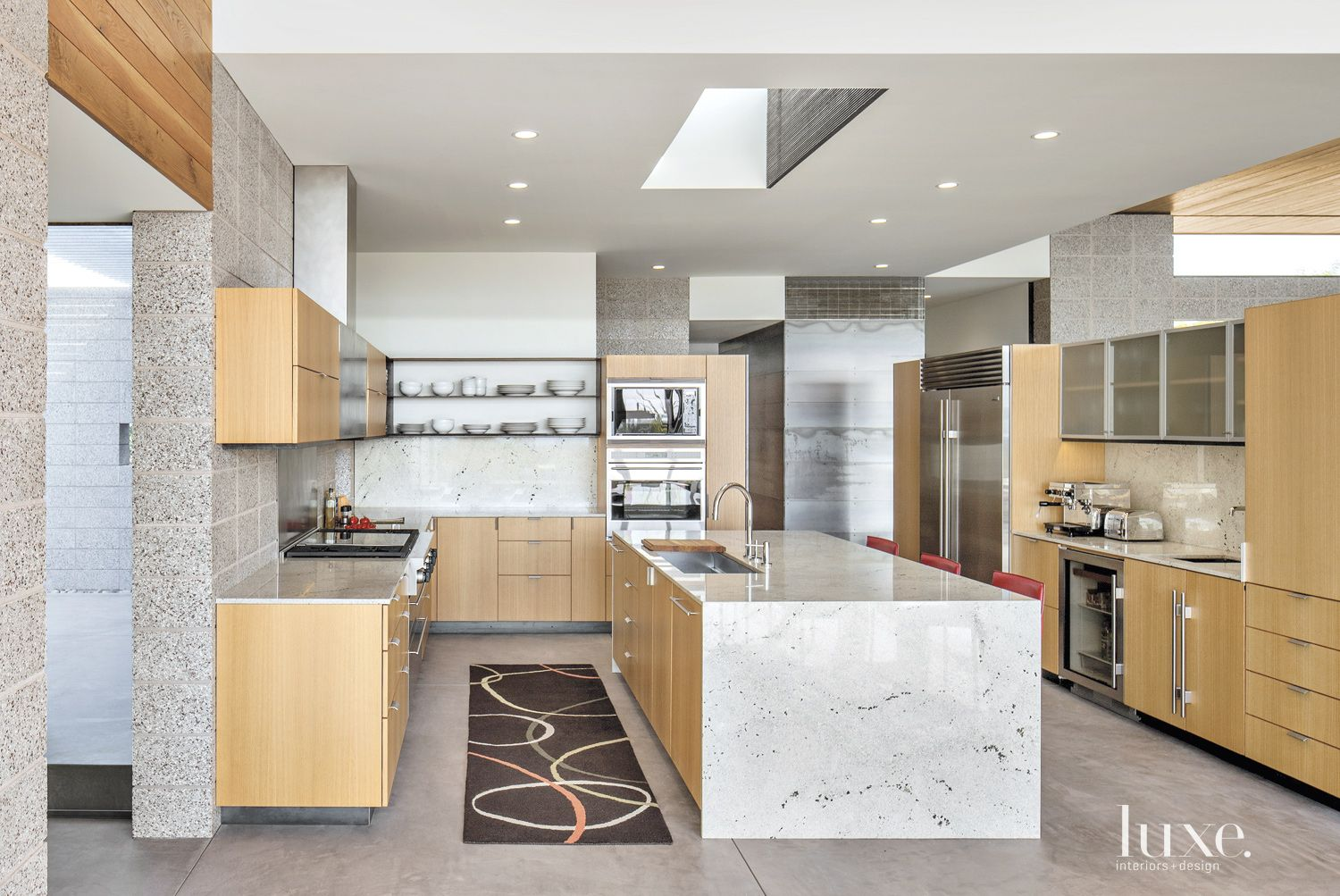 Contemporary White Kitchen with Expansive Island