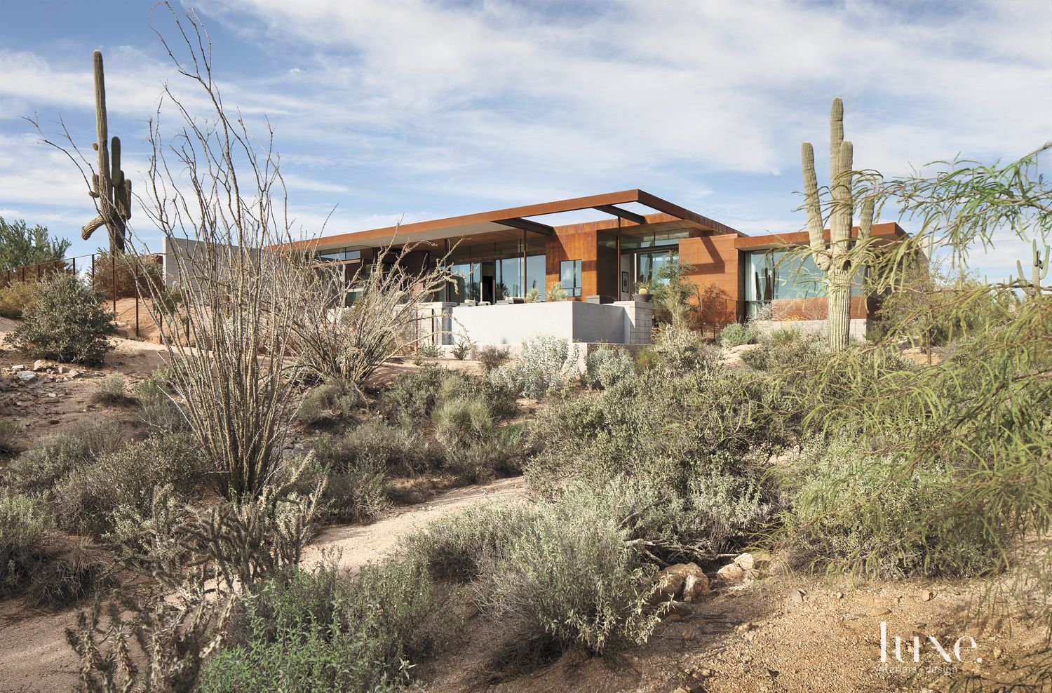 Contemporary Brown Exterior with Desert Landscape