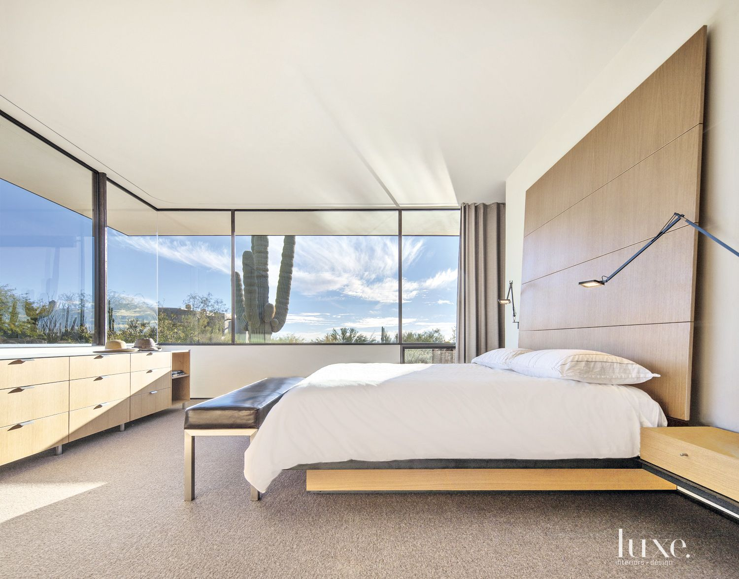 Contemporary White Bedroom with Panoramic Views