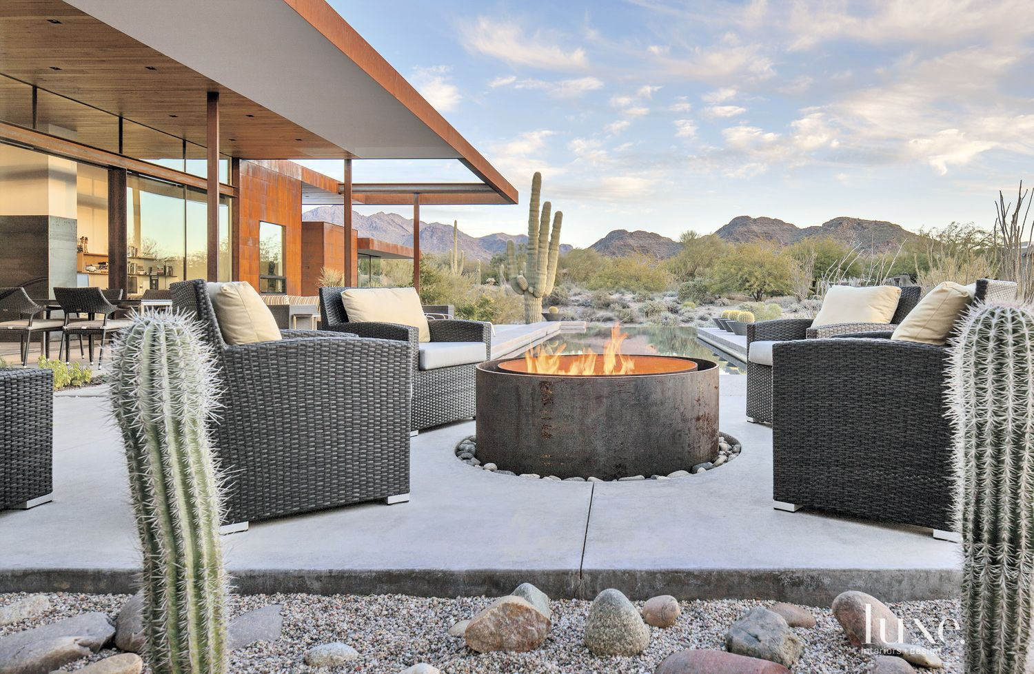 Contemporary Outdoor Space With Custom Fire Pit