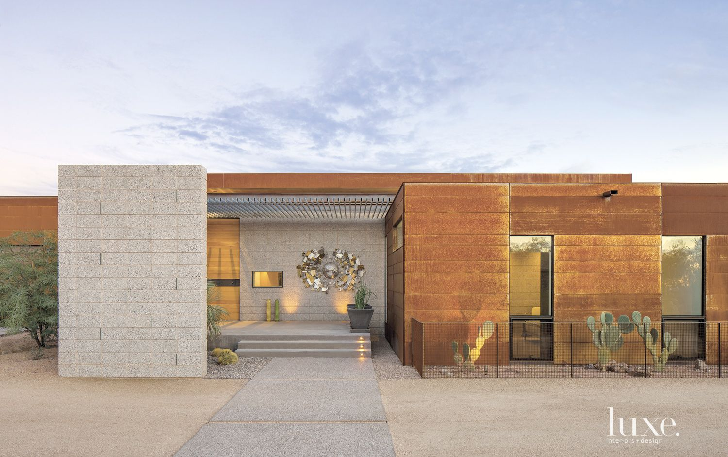 Contemporary Front Elevation with Elegant Rusted Facade