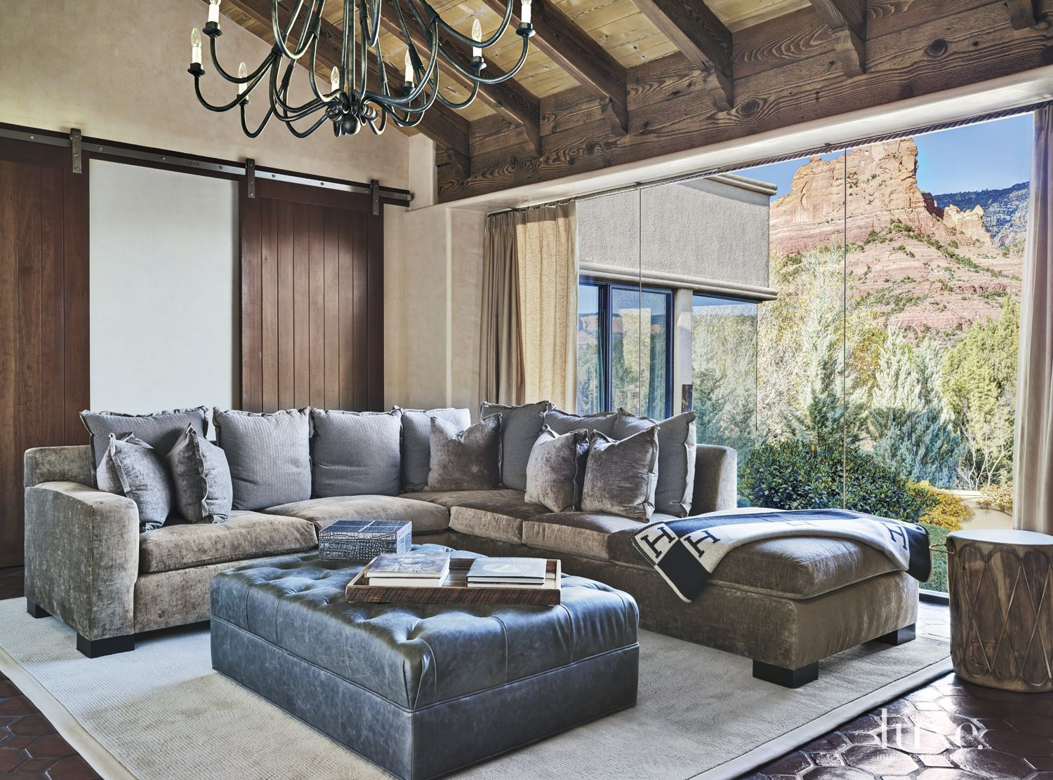 Mediterranean Cream Den with Velvet Sectional