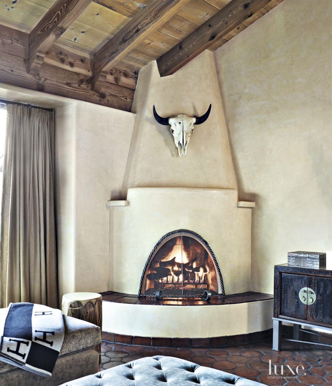 Mediterranean Cream Den Corner Fireplace
