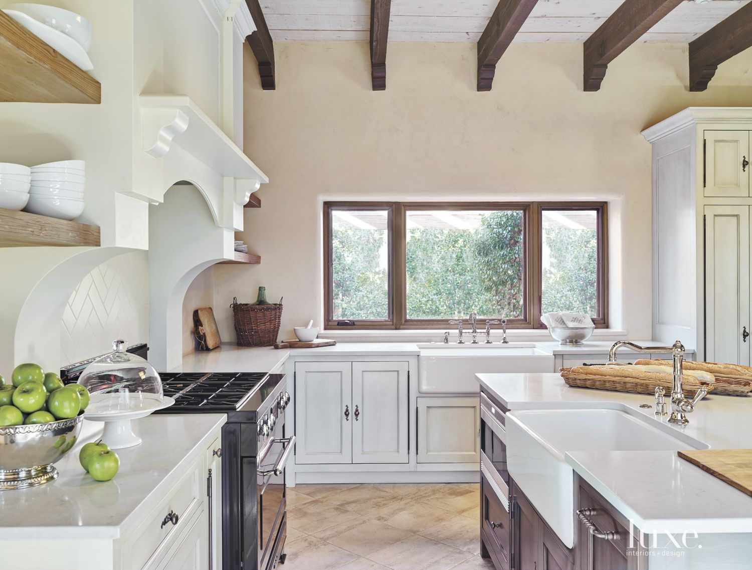 Mediterranean Cream Kitchen with Farmhouse Sinks